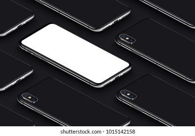 Isometric smartphones mockup pattern on black background. New frameless smartphones back side and front side with white screen. 3D illustration.