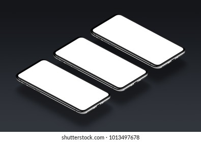 Isometric smartphones multi screen mockup. Several perspective view smartphones with white blank screens on black background. 3d illustration.