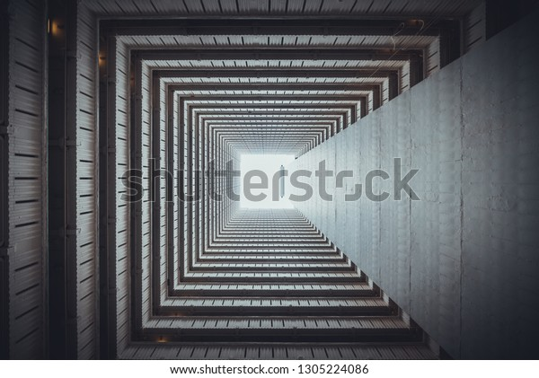 Isometric square bottom view from inside building abstract wallpaper design concept