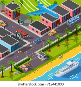 Isometric top view transport concept with  airplane ship cars and city  automobiles on city landscape background  illustration