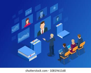 Isometric Training, Online Learning, Webinar, Online Education, Business Training. Flat Illustration Knowledge Expertise Intelligence Learn Concept.