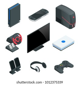 Isometric Video Game console icon set. Simple set of game console icons for web design isolated on white background.