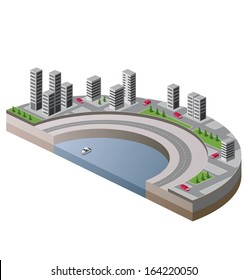 Isometric view of the city to the quay and the ship