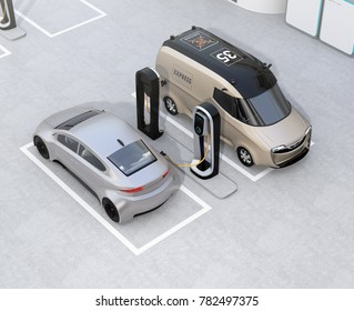 Isometric view of electric delivery minivan and silver sedan charging at charging station. 3D rendering image.
