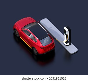 Isometric view of red electric SUV car charging in charging station. 3D rendering image.