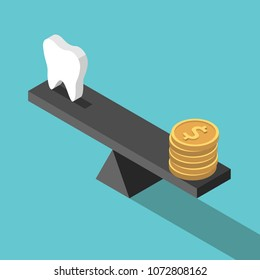 Isometric white tooth and gold dollar coins on seesaw weight scales on turquoise blue. Dental care, health, price and money concept. Flat design