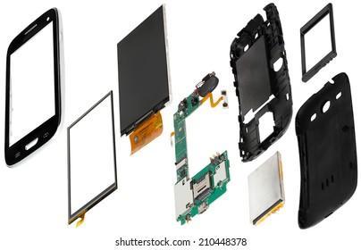 isometryc disassembled smartphone