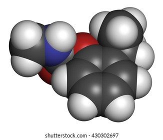 Isoprocarb insecticide molecule. 3D rendering. Atoms are represented as spheres with conventional color coding: hydrogen (white), carbon (grey), oxygen (red), nitrogen (blue).