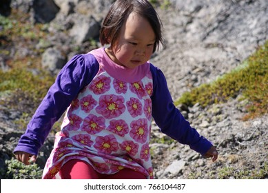 Isortoq, Greenland / June 21 2013 : Inuit's child