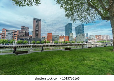 Isozaki Towers, Bilbao, - April 24, 2015: Isozaki towers and Zubizuri footbridge are modern constructions representing new era for the previously industry based city in Bilbao