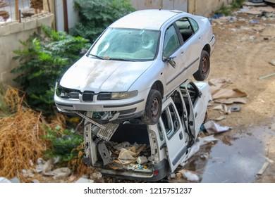 Israel. Abandoned Cars. Car scrapyard. Car dump. Scrap vehicles. Vehicle Recycling