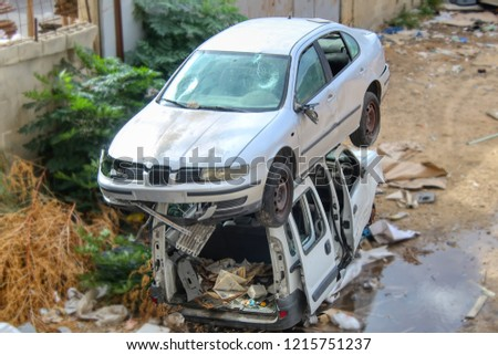 010cea96b6 Israel. Abandoned Cars. Car scrapyard. Car dump. Scrap vehicles. Vehicle  Recycling