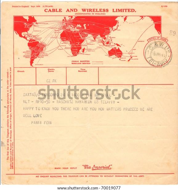 Israel Circa 1941 Old Used Telegram Stock Photo (Edit Now) 70019077