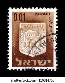 ISRAEL - CIRCA 1960: A stamp printed in Israel, shows coat of arms of Lod, Israel, series , circa 1960