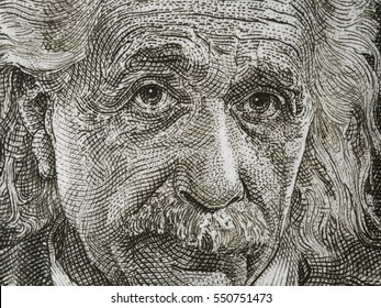 ISRAEL - CIRCA 1968: Albert Einstein portrait on Israel 5 pounds banknote close up. Theoretical physicist, general theory of relativity author, Nobel Prize winner.