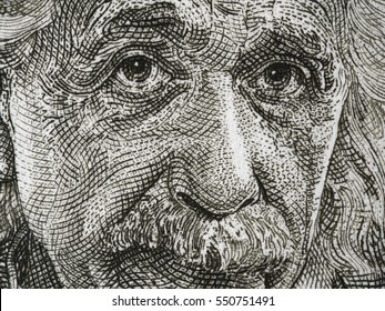 ISRAEL - CIRCA 1968: Albert Einstein portrait on Israel 5 pounds banknote closeup macro. Theoretical physicist, general theory of relativity author, Nobel Prize winner.