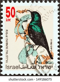 """ISRAEL - CIRCA 1992: A stamp printed in Israel from the """"Songbirds """" issue shows Palestine sunbird, circa 1992."""