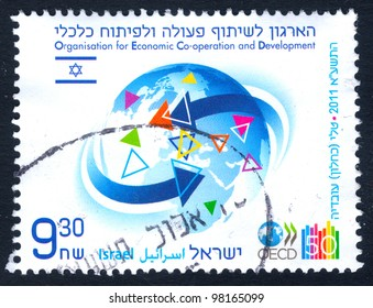 "ISRAEL - CIRCA 2007:  An used Israeli Postage stamp issued in honor of Organization for Economic Cooperation and Development with inscription: ""Israel OECD""; series, circa 2007"