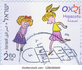 ISRAEL, CIRCA 2011. One old used postage stamp dedicated to children's coordination games. Hopscotch. Series, circa 2011.