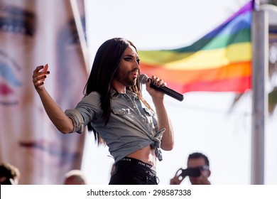 ISRAEL - Conchita Wurst sings at the Tel Aviv Pride 2015 in Tel Aviv on June 12, 2015