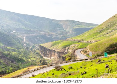 Israel countryside. Green valley in Golan Heights in Israel.