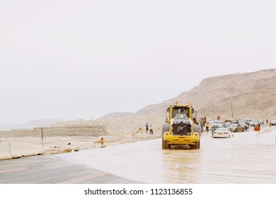 ISRAEL, DEAD SEA - APRIL 25, 2018: Mudslides in Israel