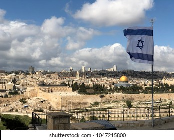 Israel flag above the old city of Jerusalem Israel