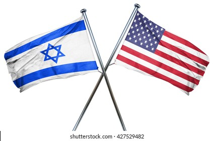 Israel flag with american flag, isolated on white background