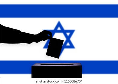 Israel flag with ballot box during elections / referendum