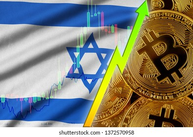 Israel flag and cryptocurrency growing trend with many golden bitcoins