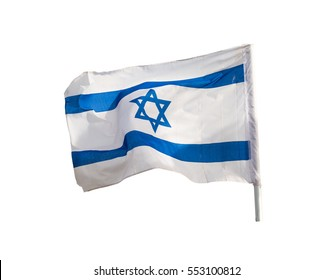 Israel flag flapping on the wind isolated on white background