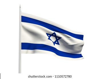 Israel flag floating in the wind with a White sky background. 3D illustration.