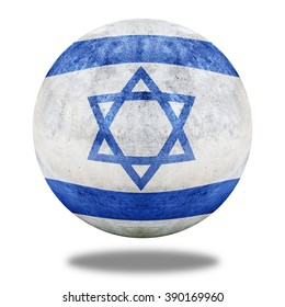 Israel flag pattern on stone circle shape texture