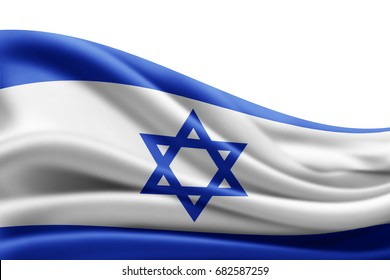 Israel  flag of silk with copyspace for your text or images and white background -3D illustration