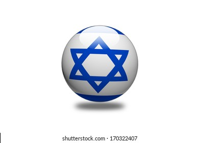 Israel Flag sphere isolated on white background.