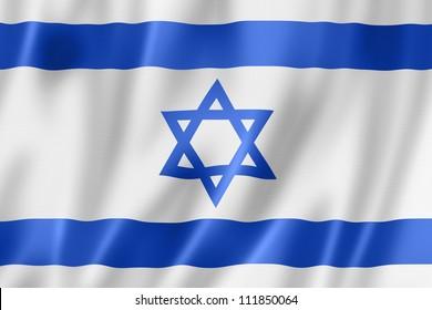 Israel flag, three dimensional render, satin texture