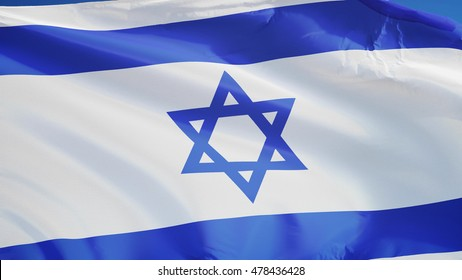 Israel flag waving against clean blue sky, close up, isolated with clipping path mask alpha channel transparency