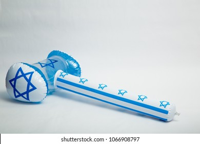 Israel independence day toys with national symbols, rubber hammer with symbols on a white background