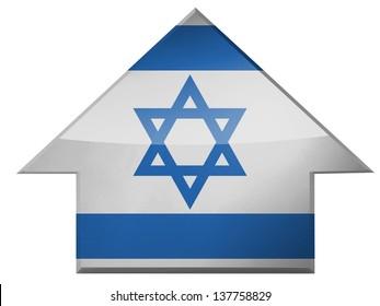 Israel. Israeli flag  on up arrow icon