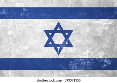 Israel - Israeli Flag on Old Grunge Texture Background