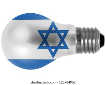 Israel. Israeli flag  painted on lightbulb