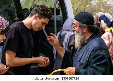 Israel / Jericho - 03.27.2016: a group of Orthodox pilgrims arrived at the monastery of St. Gerasim of Jordan.