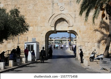 ISRAEL, JERUSALEM- 12 October 2019: : the Dung Gate (Mughrabi Gate, Silwan Gate) is one of the gates in the walls of the Old City of Jerusalem. Built in the 16th century.