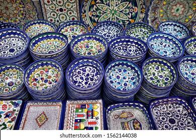 ISRAEL, JERUSALEM: ceramics, souvenir shop on the streets of the Old City of Jerusalem