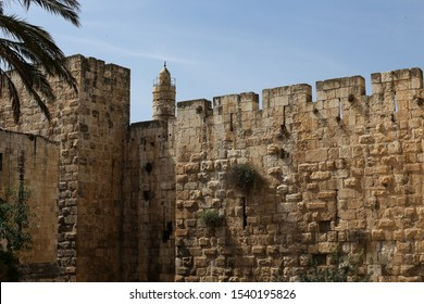 ISRAEL, JERUSALEM: the Tower of David (Jerusalem Citadel) and the city walls, an ancient citadel located near the Jaffa Gate entrance to western edge of the Old City of Jerusalem