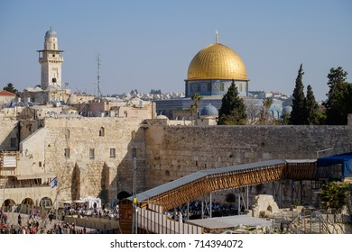 Israel, Jerusalem. A view om Western Wall and Omar mosque on 14, october 2016.