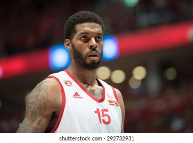 ISRAEL - June 25: Hapoel Jerusalem's Donta Smith is seen on court during the Israeli league championship finals between Hapoel Jerusalem and Hapoel Eilat in Pais Arena in Jerusalem on June 25, 2015