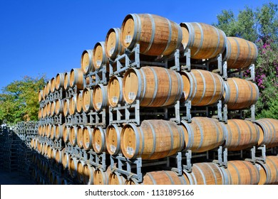 ISRAEL, KATZRIN - OCTOBER 20, 2013:  Wooden barrels for wine  in the courtyard of the Golan Heights Winery, Israel