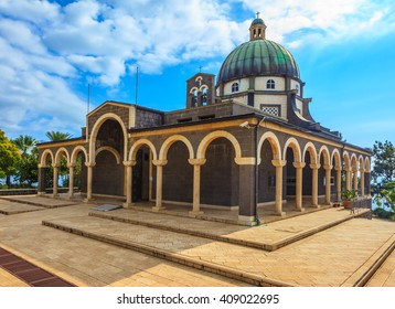 Israel, lake Tiberias. Basilica of the monastery of Mount Beatitudes. The magnificent dome surrounded by a colonnade