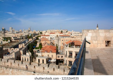 Israel landscape attractions. Jerusalem view of the old town and new city. View from the top of the tower of David. Ancient buildings, Christian, Jewish and Armenian quarters. Christian temples.